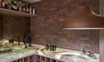 Revestimento de parede imitando tijolinhos